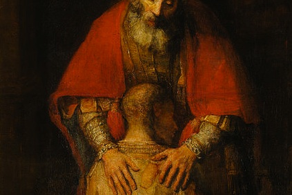 detail of Return of the Prodigal Son by Rembrandt